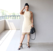 Load image into Gallery viewer, Beige Khaadi Cotton T Back Sheath Dress