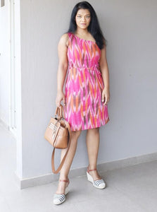 Pink Ikat Cotton One Shoulder Dress