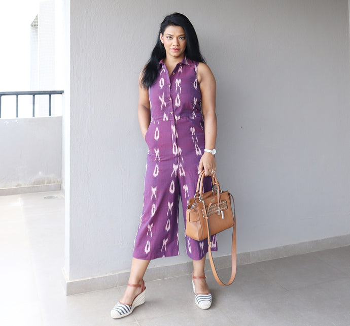 Purple Ikat Cotton Cropped Jumpsuit