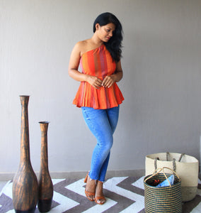 Orange Cotton Silk Kantha Embroidery One Shoulder Peplum Top