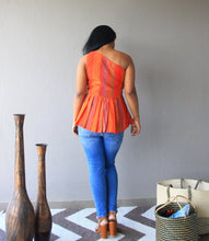 Load image into Gallery viewer, Orange Cotton Silk Kantha Embroidery One Shoulder Peplum Top