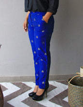 Load image into Gallery viewer, Blue Brocade Silk Slim Fit Pants