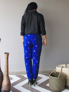 Blue Brocade Silk Slim Fit Pants