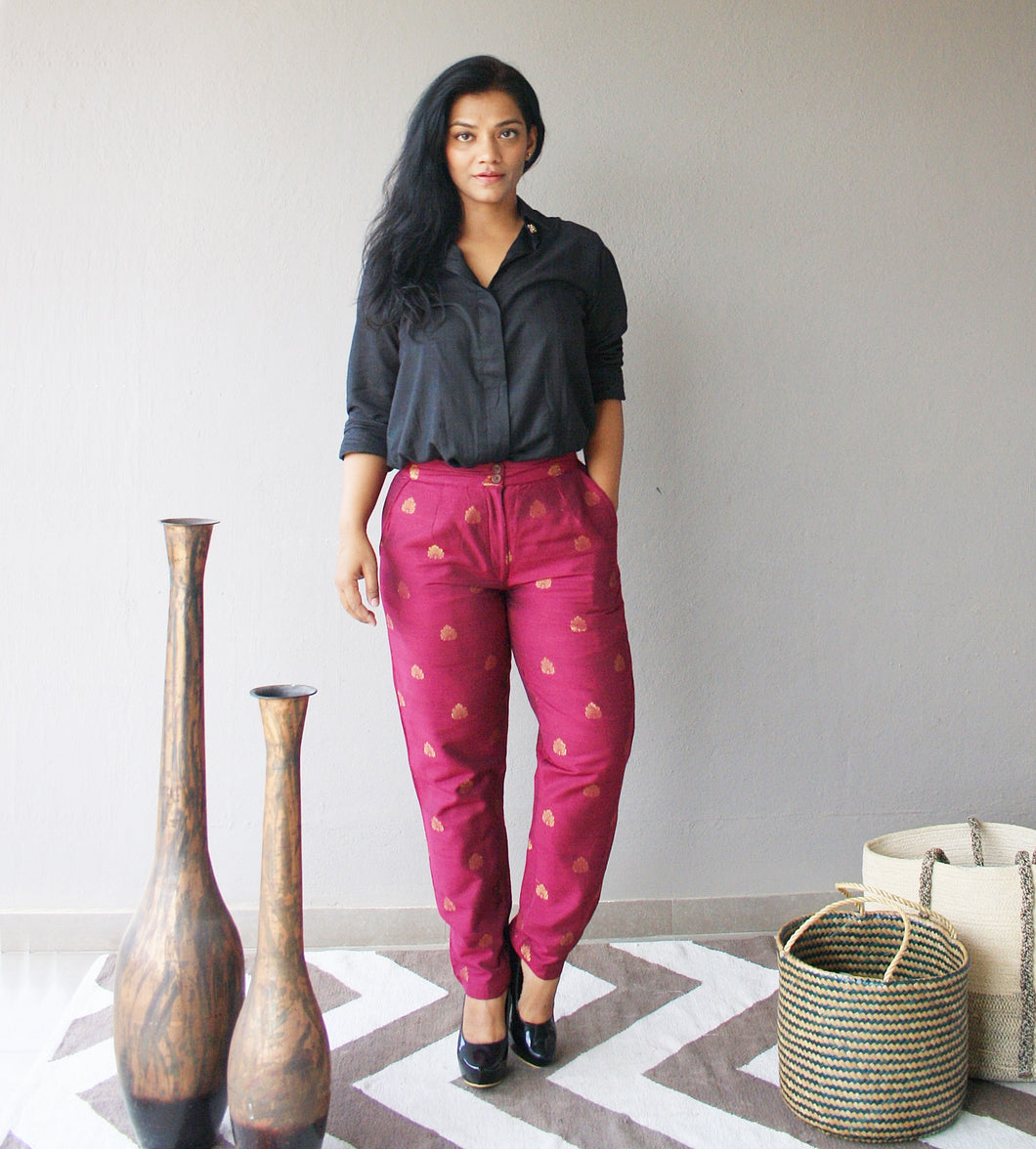 Burgundy Brocade Pants