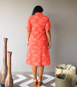 Peach Floral Printed Cotton Shift Dress