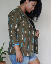 Load image into Gallery viewer, Olive Green Ikat Cotton Blazer