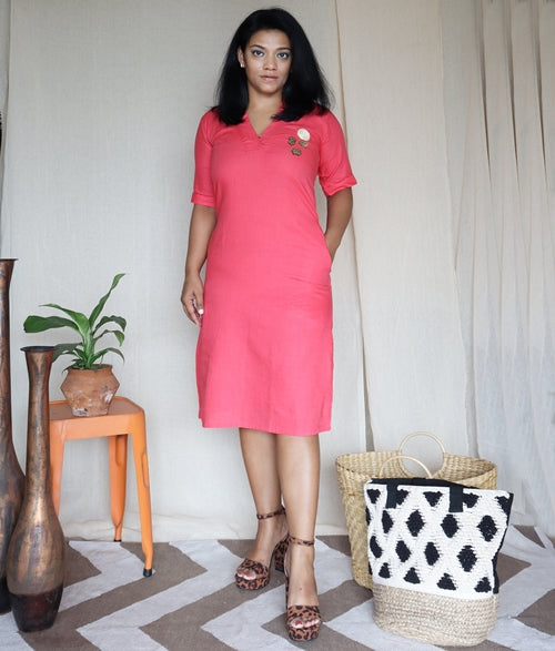 Pink Linen Cotton Shift Dress with Embroidery