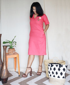 Linen Shift Dress with Pockets Pink Peach