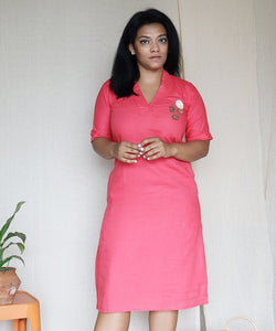 Pink Linen Cotton Shift Dress with Hand Embroidery