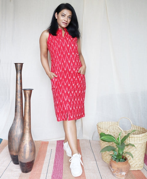 Red Ikat Shift Dress