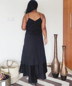 Black Handloom Cotton A Line Maxi Dress