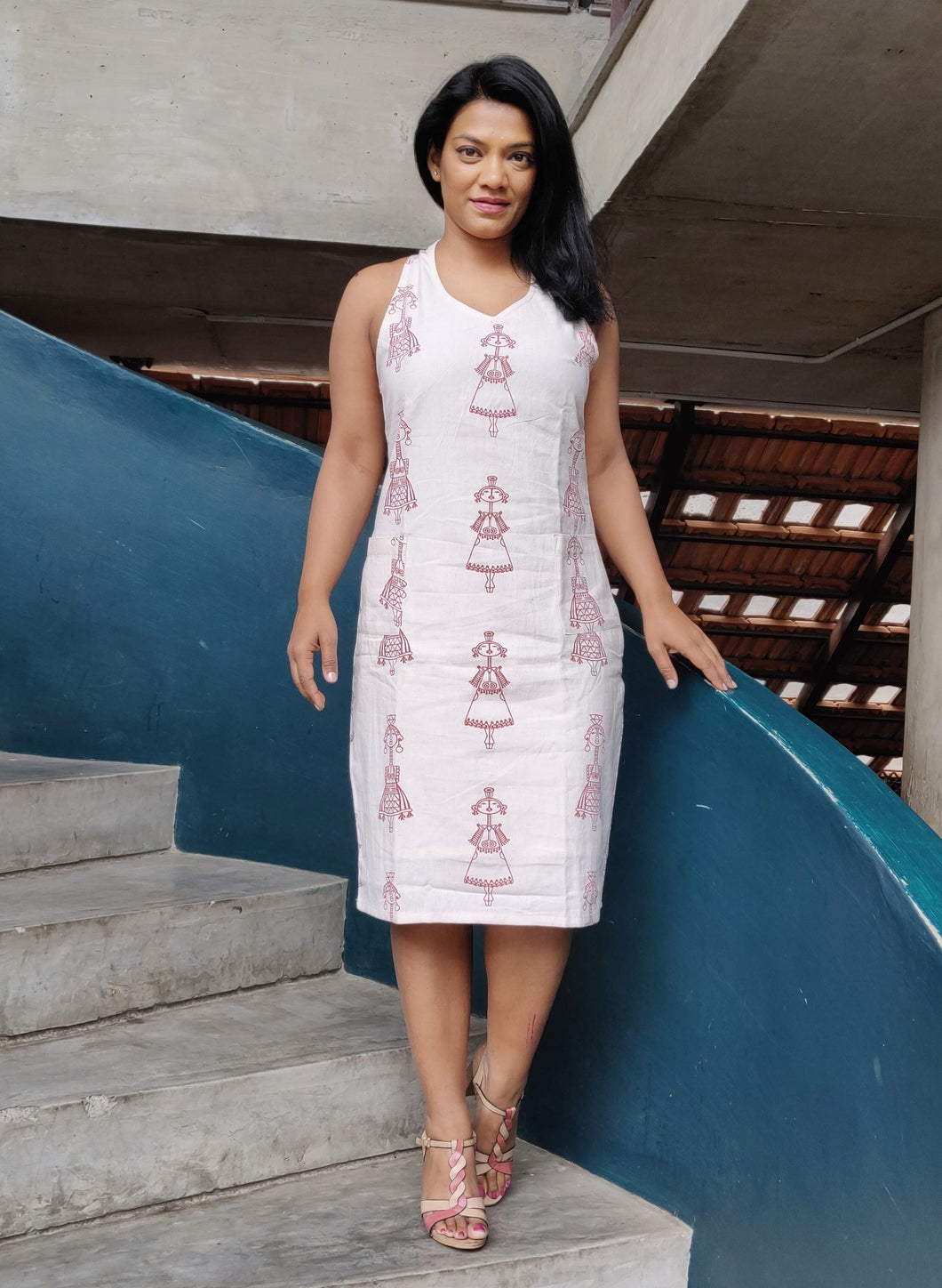 Off White Khaadi Cotton Shift Dress with Doll Print