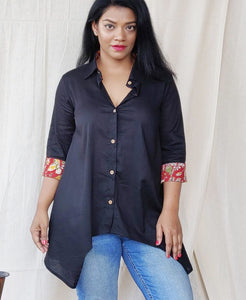 Black Cotton  A Line Shirt