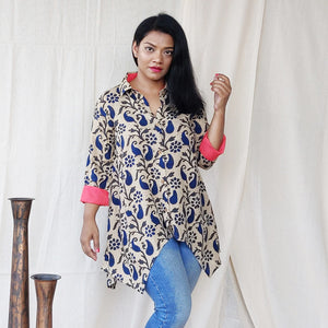 Blue and Beige Cotton Viscose A Line Shirt