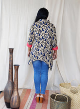 Load image into Gallery viewer, Blue and Beige Cotton Viscose A Line Shirt