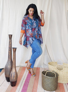 Grey Floral Printed Asymmetric Shirt