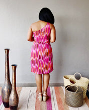 Load image into Gallery viewer, Pink Ikat Cotton One Shoulder Dress