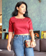 Load image into Gallery viewer, Maroon Cotton Silk Crop Top