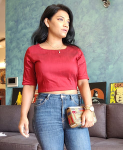 Maroon Cotton Silk Crop Top