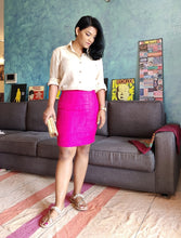 Load image into Gallery viewer, Bright Pink Cotton Silk Pencil Skirt