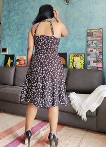 Black Printed Cotton Viscose Fit and Flare Dress