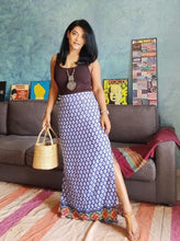 Load image into Gallery viewer, Blue Cotton Viscose Maxi Skirt