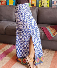 Load image into Gallery viewer, Blue Printed Cotton Viscose Maxi Skirt