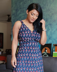 Indigo Printed Cotton Viscose Wrap Dress