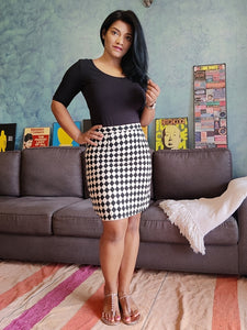 Black and White Printed Pure Cotton Pencil Skirt