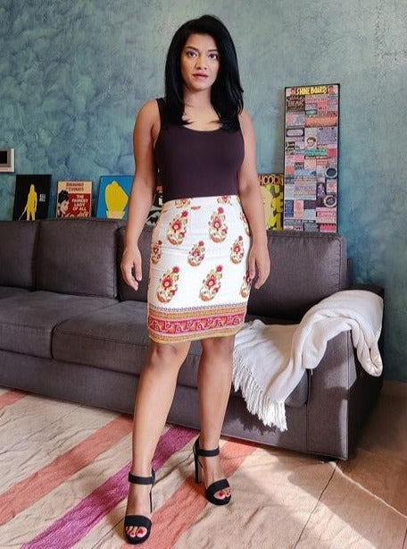 White Printed Pencil Skirt