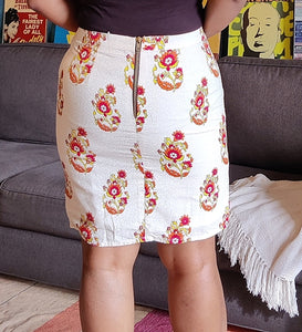 Off White Printed Cotton Pencil Skirt