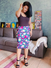 Load image into Gallery viewer, Blue Floral Cotton Lycra Pencil Skirt
