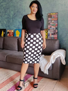 Black Polka Dotted Cotton Lycra Pencil Skirt