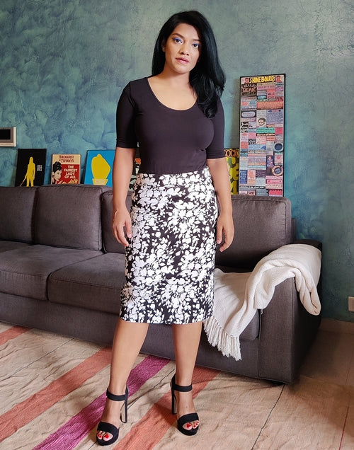 Black Printed Cotton Lycra Pencil Skirt