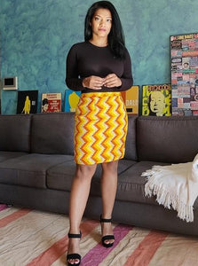 Yellow Chevron Printed Pencil Skirt