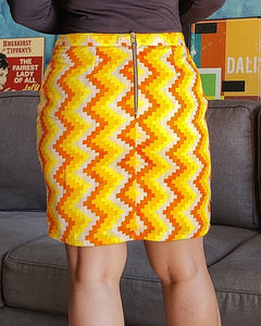Yellow Chevron Printed Cotton Pencil Skirt