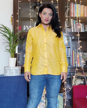 Load image into Gallery viewer, Yellow Khaadi Silk Full Sleeve Shirt