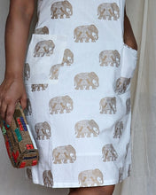 Load image into Gallery viewer, Off White Elephant Printed Cotton Halter Neck Shift Dress
