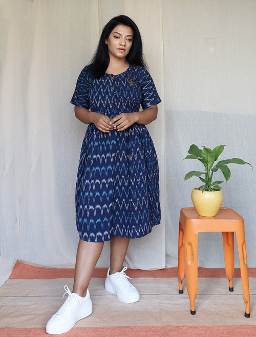 Dark Blue Ikat Cotton Midi Dress with Embroidery