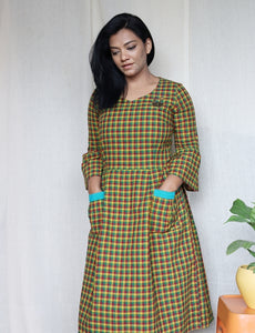 Green Multi Checkered Handloom Cotton Midi Dress with Embroidery