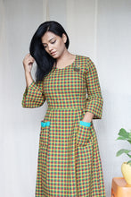 Load image into Gallery viewer, Green Multi Checkered Handloom Cotton Midi Dress with Embroidery