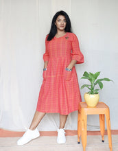 Load image into Gallery viewer, Orange and Pink Handloom Cotton Midi Dress with Embroidery