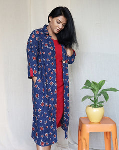 Indigo and Red Set of Two Dresses