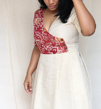 Load image into Gallery viewer, Pink Batik and Off White Khaadi Silk Midi Dress