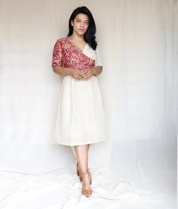 Pink Batik and Off White Khaadi Silk Midi Dress