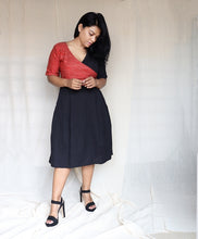 Load image into Gallery viewer, Red Ghicha Silk and Black Cotton Linen Midi Dress