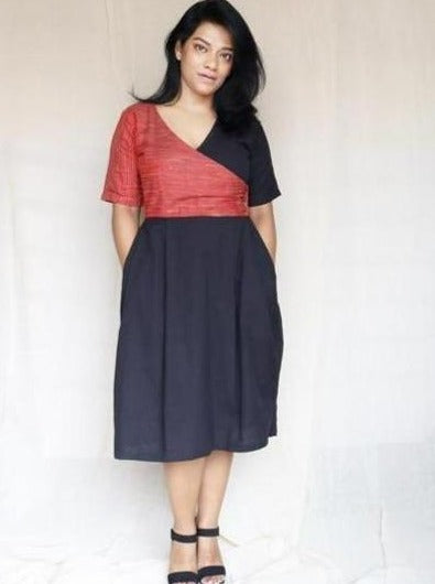 Red Ghicha Silk and Black Cotton Linen Midi Dress