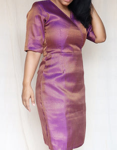 Purple and Copper Brocade Silk Sheath Dress