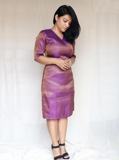 Purple Brocade Silk Dress
