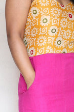 Load image into Gallery viewer, Yellow Batik Khaadi Silk and Purple Linen Cotton Cropped Jumpsuit